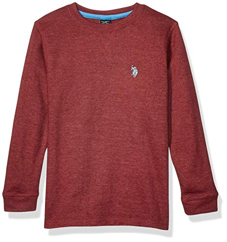 U.S. Polo Assn. Boys' Little Long Sleeve Crew Neck Thermal T-Shirt, Birdseye Burgundy Heather, 7