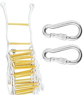 Escalera de emergencia for cuerda de escape de incendios, (2-7 pisos) Escaleras de seguridad resistentes al fuego con 2 ganchos Dispositivo descendente Edificio personal Salida de evacuación de emerge