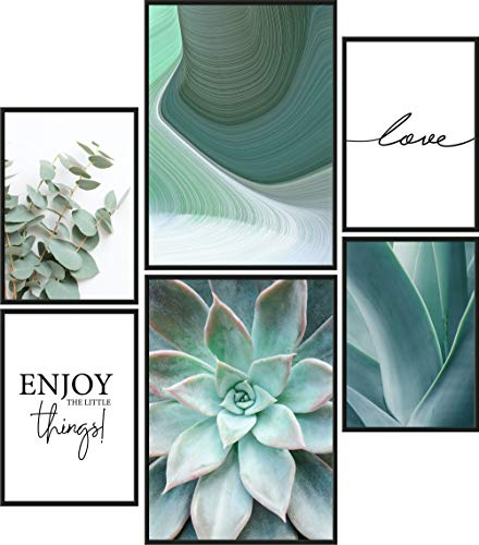 Papierschmiede® Mood-Poster Set Green Love | 6 fertig gerahmte Bilder in schwarzen Holzrahmen | 2X DIN A3 und 4X DIN A4 | Eukalyptus Agave Aloe Vera
