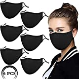6Pack Black Reusable Breathable Cloth Face Protection,Adjustable Washable Male and Women Fashion Face Protection Cover