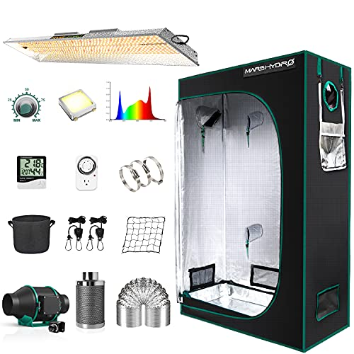 """MARS HYDRO Grow Tent Kit Complete 2x4ft TSL 2000W LED Grow Light Dimmable Grow Tent Complete System, 24""""x48""""x70"""" Hydroponic Grow Tent 1680D Growing Tent Set Full Spectrum Grow Kit"""