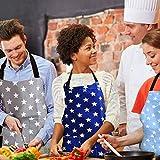 WELLXUNK Schürze,Küchenschürze Damen Schürze Kochschürze,Schürze mit Tasche für Frauen Kochen Arbeit Hausarbeit,zum Kochen oder Backen (Marine) - 8