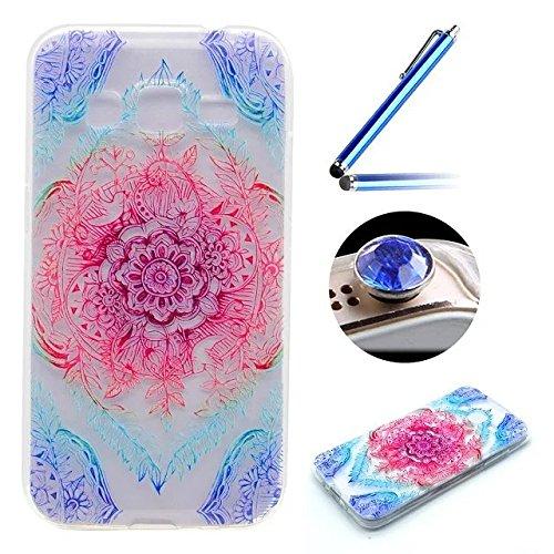 [Samsung Galaxy J3(2016)] Coque Housse de Téléphone,Etsue Mode Fashion Coque Silicone étui à Téléphone pour Samsung Galaxy J3(2016),Samsung Galaxy J3(2016) Doux Souple Coque en Thin Ultra-Mince TPU ,Transparent Protection des Coque Couverture Case Cover pour Samsung Galaxy J3(2016) + 1 x Bleu stylet + 1 x Bling poussière plug (couleurs aléatoires)- Rêver Fleur