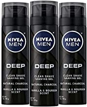 NIVEA Men DEEP Clean Shaving Gel - With Natural Charcoal To Clean While Shaving - 7 oz. Can (Pack of 3)
