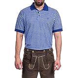 Tracht & Pracht - Uomo 100% Cotone Polo Camicia Bavarese Tradizionale a Quadri Blu - L