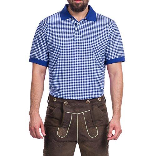 Tracht & Pracht Herren 100% Baumwolle - Trachtenhemd Polo T-Shirt Karo Blau - XL