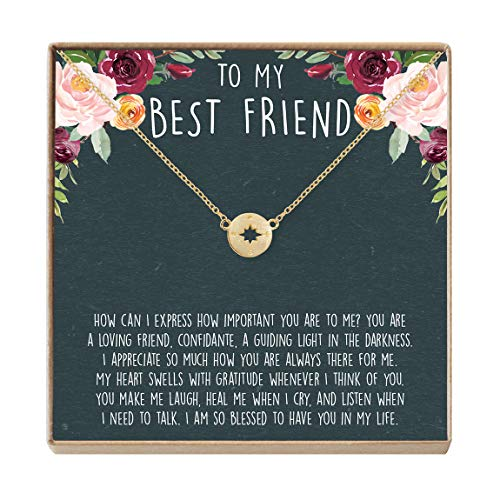 Best Friend Necklace - Heartfelt Card & Jewelry Gift for Birthday, Holiday, More