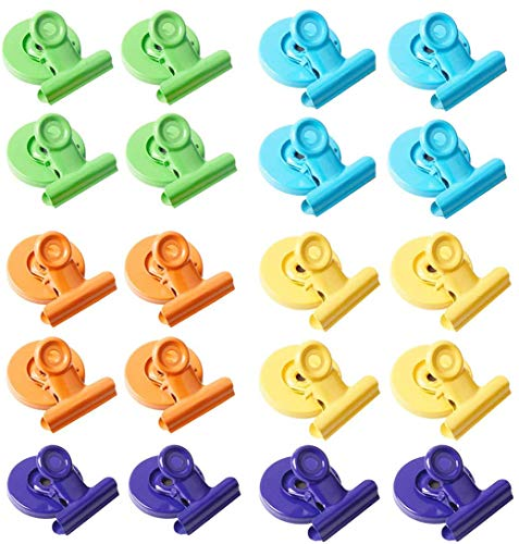 Magnetic Metal Clips 20 Pack, Colored Fridge Magnet Clips for Refrigerator, Organizing& Decorating, Whiteboard Magnetic Clips for School, Office, 30mm Wide