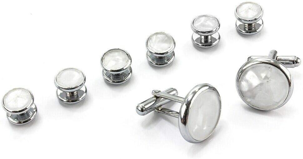 8Pcs/Set Mens Shirt Tuxedo Cufflinks Wedding Party Buttons Cuff Links Studs White Shell