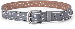 Fashion Trend Ladies Belt Leather Rivet Rhinestone Inlaid pin Buckle Belt Casual Wild Pants Belt Women Candys house (Color : Grey, Size : 110cm)