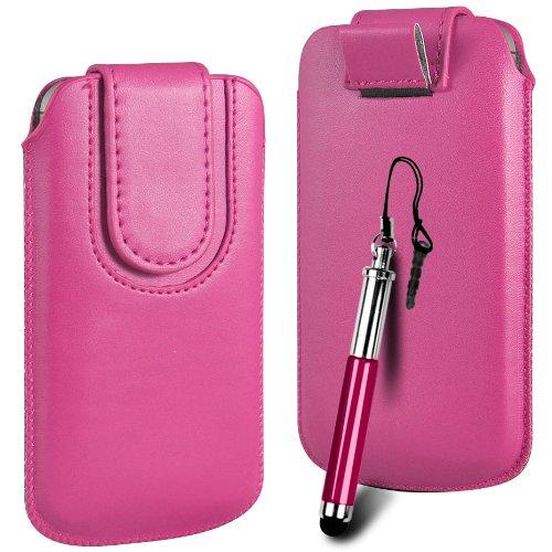 N4U ONLINE Premium PU-Leder Flip Pull Tab Hülle Tasche mit Magnetbandverschluss und versenkbaren Stift für Huawei Ascend Y210D - Rosa