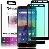 NALIA (2-Pack) Schutzglas kompatibel mit Nokia 3.1 (2018), 9H Full-Cover Bildschirm Schutz Glas-Folie, Dünne Handy Schutzfolie Display-Abdeckung, Schutz-Film Screen Protector - Transparent (schwarz)
