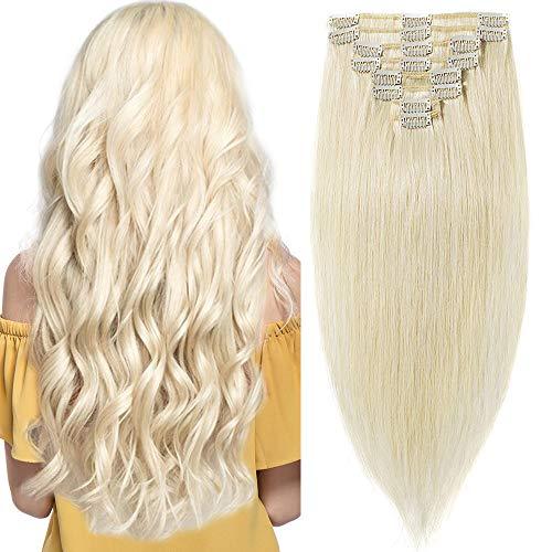 Extension Clip Capelli Veri Biondo Platino - 100% Remy Human Hair Lisci 8 Fasce 33cm 13