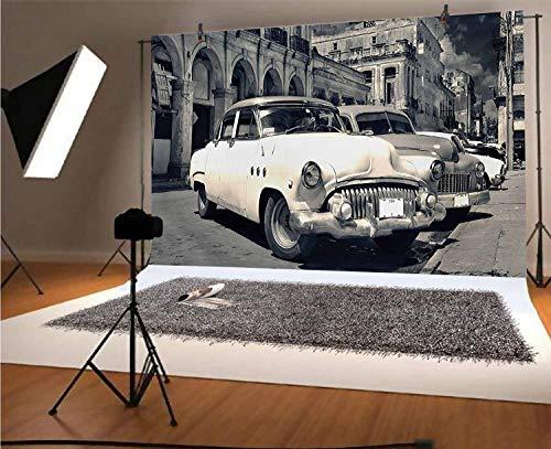 Telones de fondo de vinilo para fotos de coche vintage de 10 x 8 pies, vista panorámica de la calle Shabby Old Havana con fondo clásico de coches americanos para selfies, fotos de fiesta de cumpleaños