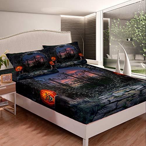 Set di biancheria da letto con angoli a Halloween con zucca e lanterna, e bambini, colore nero spaventoso, set di lenzuola resistenti alle macchie e della stanza singola, 2 pezzi