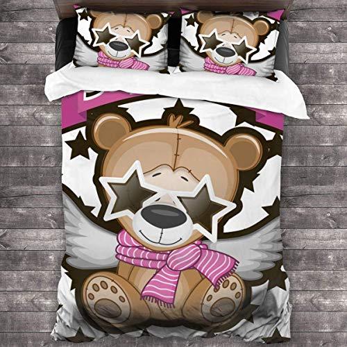 ATZTD Juego de ropa de cama, oso de peluche con gafas de estrella en el fondo de las estrellas-253756870, funda de edredón suave de lujo de 3 piezas con 2 fundas de almohada de 135 x 200 cm
