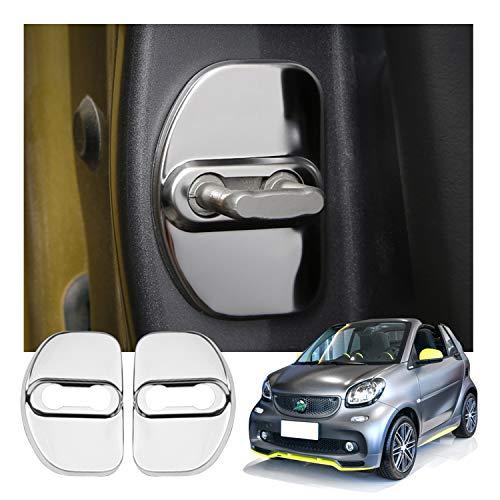 LFOTPP Edelstahl Auto Türschlossabdeckung Smart Fortwo, Innenraum Schutz Zubehör Türverriegelung Abdeckung Zubehör (Silber)