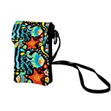 Cartoon underwater worldCell Phone Bags,Leather Small Wallet Purse with Shoulder Strap for Women/Girl Storage for Smartphone,Passport,Credit Cards,Keys,lipsticks and More