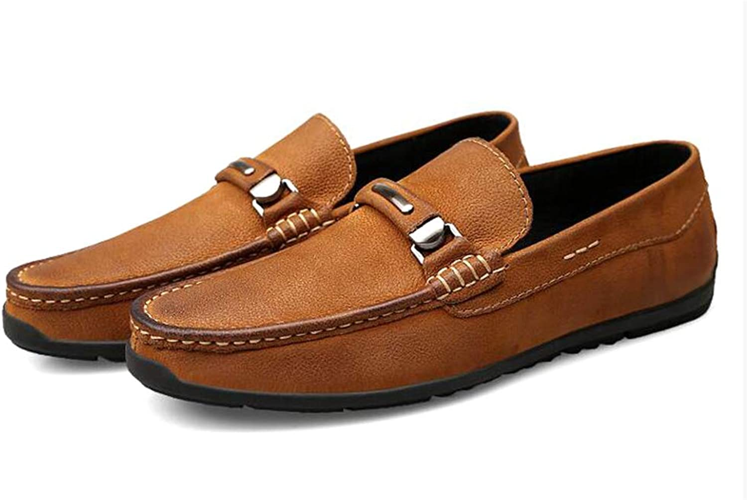 Y-H Men's shoes, Spring new Flat Casual shoes, Slip-Ons Driving shoes,Loafers & Slip-Ons Lazy shoes Formal Business shoes,Brown,38