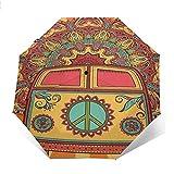 Ombrello compatto pieghevole Mini-furgone Hippie Vintage impermeabile-parasole-Auto Open&Close (colla nera)