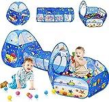 Tienda de niños 3pc Kids Ball Afits para niños pequeños con niños Play Tell & Kids Tunnel para Boys & Girls, Baby Pop Up Playhouse Juguete para niños en Interiores/Juegos al Aire Libre, Mejores rega
