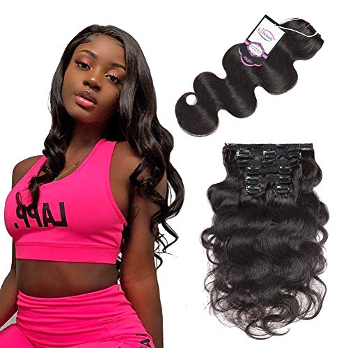 Urbeauty Body Wave Remy Clip in Hair Extensions #1B Natural Black 7Pcs/90g 16 inches Full Head Clip in Wavy Human Hair Extensions Triple Weft