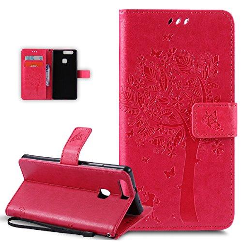 Kompatibel mit Schutzhülle Sony Xperia M2 Hülle Handyhülle Tasche Hülle,Prägung Katze Schmetterlings Blumen PU Lederhülle Flip Hülle Handyhülle Ständer Tasche Wallet Schutzhülle,Hot Pink