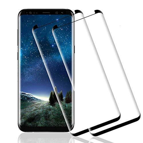 Wiestoung Protector de Pantalla de Vidrio Templado para Samsung Galaxy S8, [2 Piezas] Cubierta 3D Completa con protección contra rayones, sin Burbujas, dureza 9H Protector de Pantalla de Vidrio