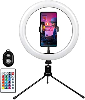 """Innoo Tech Ring Light with Remote Control-10"""" Selfie Ring Light with Tripod Stand, 16 RGB Colors Dimmable LED Lamp Camera ..."""