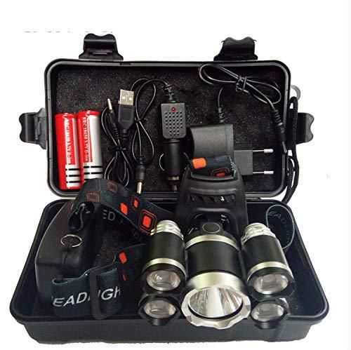 Stirnlampe,Scheinwerfer 40000 Lumen Scheinwerfer Cree Xml 3/5 Led T6 Scheinwerfer Taschenlampe Fackelscheinwerfer Mit 8650 Batterie AC/DC Ladegerät