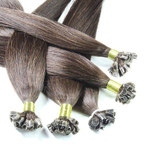 Just Beautiful Hair 100 U-tip Estensioni dei capelli naturali di Remy con punti di cheratina per installazione, lotto di 100 (4 x25),60 cm, Hot Brown