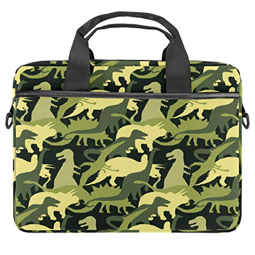 Laptop Bag Green Army Camo Dinosaur Pattern Notebook Sleeve with Handle 13.4-14.5 inches Carrying Shoulder Bag Briefcase