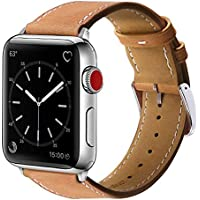 Marge Plus Genuine Leather Replacement Band for Apple Watch 6/5/4/3/2/1/SE (Brown/Silver, 40mm/38mm)