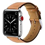 Marge Plus Compatible with Apple Watch Band 44mm 42mm 40mm 38mm, Genuine Leather Replacement Band for iWatch Series 6 5 4 3 2 1, SE (Brown/Silver, 44mm/42mm)