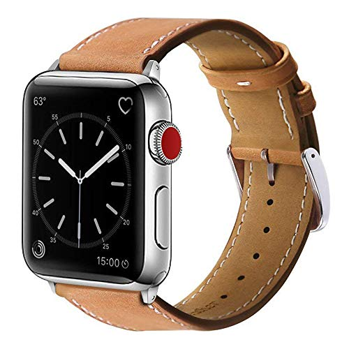 Marge Plus Compatible with Apple Watch Band 42mm 44mm, Genuine Leather Replacement Band Compatible with Apple Watch SE Series 6 5 4 (44mm) Series 3 2 1 (42mm), Brown Band/Silver Adapter