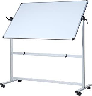 VIZ-PRO Double-Sided Magnetic Mobile Whiteboard, 96 x 48 Inches Aluminium Frame and Stand