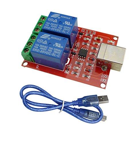 Aihasd Inteligente Electrónica 2 Canales DC5V Módulo de relé/Ordenador USB Controlar Interruptor Conducir/Controlador Inteligente de PC