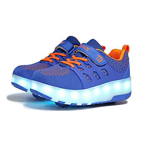 Ice-Beauty-ukzy Roller Skate Shoes, Boys Girls 7 Colors Changing LED Strips Roller Skate Shoes, with Double Wheel, Adjustable Buttons, Flashing Gymnastics Sneakers, for Kids Best GiftsBlue orange-34