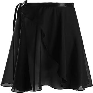 TiaoBug Damen Wickelrock Ballett Rock unregelmäßig Tanz Sport Gymnastik Mini Skater Rock Skirt aus Chiffon Dancewear Tanzrock Rosa Weiß rot schwarz
