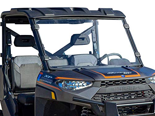 SuperATV Heavy Duty Scratch Resistant Full Windshield for Polaris Ranger Full Size XP 900/900 Crew (2013+) - Easy to Install!