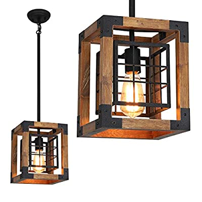 Farmhouse Pendant Light, 1-Light Rustic Wood Cage Chandelier, Industrial Hanging Ceiling Light Fixture for Kitchen Island, Entryway, Foyer, Living and Dining Room