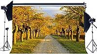 の背景7X5FTビニール農村田舎フィールド背景森の木黄金の葉草芝生ダート道路パス秋の写真撮影の背景結婚式の観光写真スタジオの小道具157