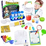 UNGLINGA Kids Science Kit Lab Coat Chemistry Experiments Set for 3 4 5 6 7 8 9 10 11 Years Old Boys Girls Toys Gift Scientist Costume Pretend Role Play STEM DIY Educational Learning Scientific Tools