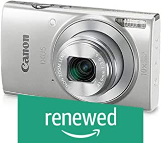(Renewed) Canon IXUS 190 20MP Digital Camera with 10x Optical Zoom (Silver) with Memory Card + Camera Case