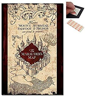 Bundle - 2 Items - Harry Potter The Marauders Map Poster - 91.5 x 61cms (36 x 24 Inches) and a Set of 4 Repositionable Adhesive Pads For Easy Wall Fixing