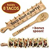 Wooden Taco Holder Tray Stand – Rack Holds 8 Soft or Hard Shell