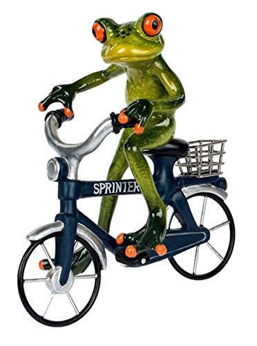Dekofigur lustiger Frosch auf einem Fahrrad, grün blau, 16x17 cm