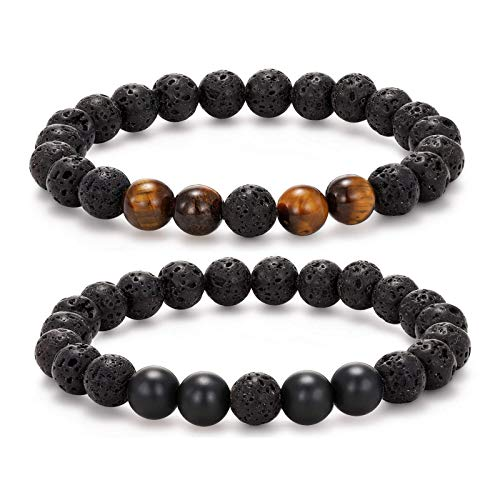 MengPa Lava Rock Bracelet Yoga Aromatherapy Anxiety Essential Oil Diffuser Volcanic Stone Bead Bangle for Women Men (Rope-Black Lava&Blue&White Howlite)UK034AB (Elastic-Black Lava&Tiger Eye&Matte))
