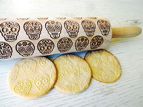 Nudelholz SUGAR TOTENKOPF. Teigrolle mit Mexikanisch Schädel. Kekse. Präge Teigrolle. Halloween. Gravierte Nudelholz mit Muster. Engraved rolling pin