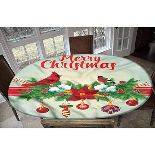 LCGGDB Cardinal Elastic Edged Polyester Fitted Tablecolth -Hanging Baubles Garland- Oval/Olbong Fitted Table Cover - Fits Oval/Olbong Tables up to 48'x78',The Ultimate Protection for Your Table